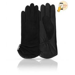 Сенсорные женские перчатки в классическом стиле, модель черного цвета от Michel Katana, арт. i.KSL11-ETOILE/BL