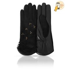 Сенсорные женские перчатки в классическом стиле, модель черного цвета от Michel Katana, арт. i.KSL11-ETROZE/BL