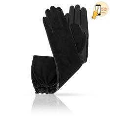 Элегантные сенсорные перчатки черного цвета, из натуральной кожи ягненка и замши от Michel Katana, арт. i.KSL81-ASTRA_26/BL