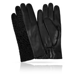 Мужские перчатки из натуральной кожи ягненка и каракулевой шерсти от Michel Katana, арт. K100-CURLON/BL