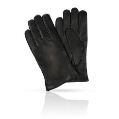 Мужские перчатки из натуральной кожи черного цвета с шерстяной подкладкой от Michel Katana, арт. K100-PORINGE/BL