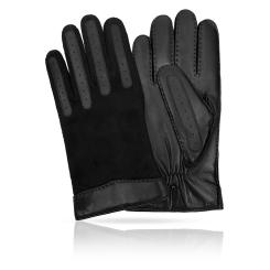 Мужские перчатки из натуральной кожи ягненка с матовыми замшевыми элементами от Michel Katana, арт. K100-RIZZOR/BL