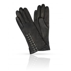 Женские перчатки из натуральной кожи ягненка черного цвета от Michel Katana, арт. K11-BOTONY/BL
