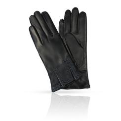 Модные женские перчатки черного цвета из натуральной кожи ягненка от Michel Katana, арт. K11-CHAMPE/BL.GR