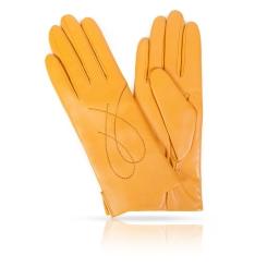 Женские перчатки из натуральной кожи ягненка желтого цвета от Michel Katana, арт. K11-COUERE/YEL