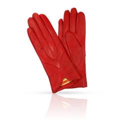 Яркие женские перчатки из натуральной кожи ягненка красного цвета от Michel Katana, арт. K11-ETNICHE/RED