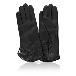 Женские перчатки из натуральной кожи ягненка черного цвета от Michel Katana, арт. K11-ETOILE/BL