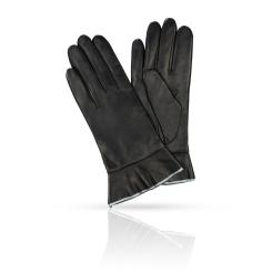 Женские перчатки из натуральной кожи со стильной манжетой от Michel Katana, арт. K11-FINOUGE/BL