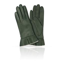 Женские перчатки из натуральной кожи ягненка темно-зеленого цвета от Michel Katana, арт. K11-FINOUGE/CON