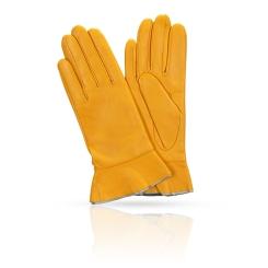 Яркие женские перчатки из натуральной плотной кожи ягненка от Michel Katana, арт. K11-FINOUGE/OR