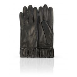 Классические женские перчатки из натуральной плотной кожи ягненка от Michel Katana, арт. K11-OUI/BL