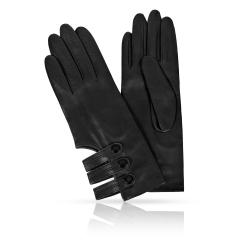 Женские перчатки из натуральной кожи со стильными ремешками от Michel Katana, арт. K81-AORY/BL