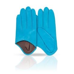 Яркие и необычные женские перчатки из натуральной кожи ягненка от Michel Katana, арт. K81-IN1/AZUR