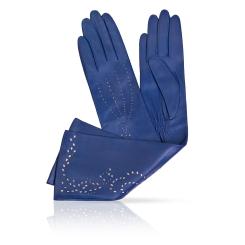 Женские перчатки из натуральной кожи ягненка синего цвета от Michel Katana, арт. K81-INSPIRE_26/BLUE