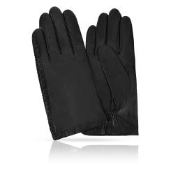 Матовые мужские перчатки из натуральной кожи ягненка с тиснением от Michel Katana, арт. K81-NOUL/BL