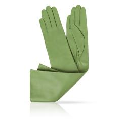 Длинные женские перчатки из натуральной кожи ягненка зеленого цвета от Michel Katana, арт. K81-OPERA_26/LEAF
