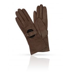 Длинные женские перчатки из натуральной кожи с тиснением от Michel Katana, арт. K81-RISIENE/GORGE
