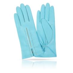 Женские перчатки из натуральной кожи ягненка небесно голубого цвета от Michel Katana, арт. K83-ELEGE/BLEU