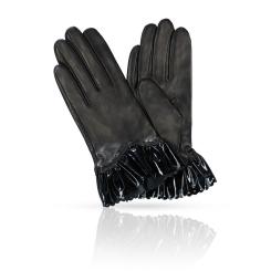 Женские перчатки из натуральной кожи ягненка с красивыми манжетами от Michel Katana, арт. KP81-FACILE/BL