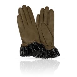 Перчатки из натуральной кожи ягненка красиво выделанной манжетой от Michel Katana, арт. KP81-FACILE/OL.BL