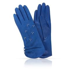 Женские перчатки из натуральной кожи ягненка и замши синего цвета от Michel Katana, арт. KS11-ETROZE/BLUE