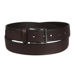 Коричневый мужской ремень для брюк с пряжкой цвета черненного серебра от Miguel Bellido, арт. 310/35 2341/13 brown 02