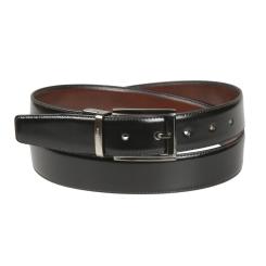Роскошный черный мужской кожаный ремень со строчкой по краю от Miguel Bellido, арт. 436/32 0201/09 black/brown