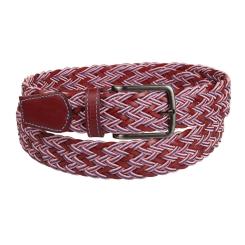 Стильный мужской ремень из натуральной красной кожи с плетением от Miguel Bellido, арт. 871/35 2529/13 red 13