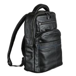 Мужской рюкзак из натуральной кожи, черного цвета, с отсеком для ноутбука от Miguel Bellido, арт. 8404 01 black
