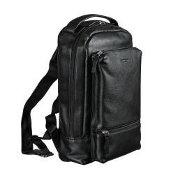 Мужской рюкзак из натуральной кожи, черного цвета, для документов и ноутбука от Miguel Bellido, арт. 8505 01 black
