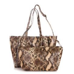 Стильная женская двойная сумка из коричневой натуральной кожи с тиснением от Giorgio Ferretti, арт. 32432 13A coffee GF