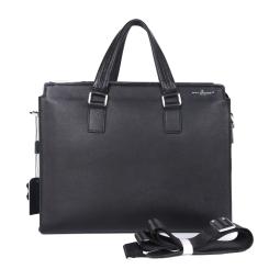 Деловая мужская сумка для документов, выполнена из натуральной кожи от Dor. Flinger, арт. 00200 Q11 black DF
