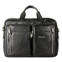 Деловая мужская кожаная сумка для документов с большими карманами от Giorgio Ferretti, арт. 147 008 black GF
