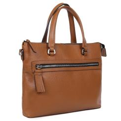 Деловая женская сумка светло-коричневого цвета с наружными карманами от Palio, арт. 15796A2-754 l.brown