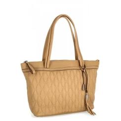 Бежевая большая женская сумка из натуральной кожи с оригинальной прошивкой от Palio, арт. LS7460
