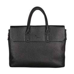 Стильная мужская деловая сумка черного цвета из натуральной кожи от Pellecon, арт. 102-21297-1