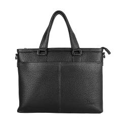 Практичная мужская деловая кожаная сумка черного цвета, для документов от Pellecon, арт. 102-21539-1
