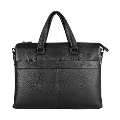 Стильная мужская деловая сумка черного цвета из натуральной кожи от Pellecon, арт. 102-21549-1