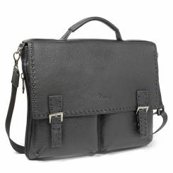 Мужской кожаный портфель черного цвета в ретро стиле от Pellecon, арт. 102-263-1
