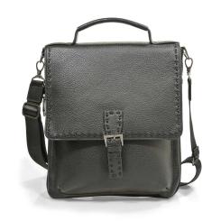 Стильная мужская сумка черного цвета из натуральной кожи от Pellecon, арт. 102-271-1