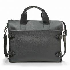 Повседневная мужская кожаная сумка черного цвета, с декоративными ремнями от Pellecon, арт. 102-279-1