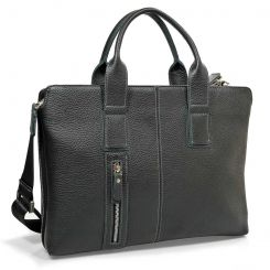 Практичная мужская деловая сумка черного цвета из натуральной кожи от Pellecon, арт. 102-288-1