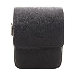 Маленькая мужская сумка через плечо черного цвета из натуральной кожи от Pellecon, арт. 102-81593-1