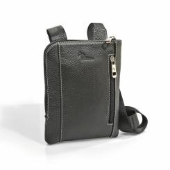 Черная мужская кожаная сумка с текстильным наплечным ремнем от Pellecon, арт. 102-855-1