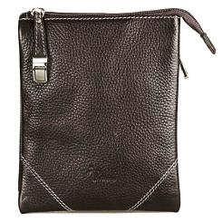 Аккуратная маленькая мужская сумка планшет из натуральной кожи коричневого цвета от Pellecon, арт. 102-856-2