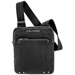 Черная мужская сумка планшет из качественного текстиля и мягкой кожи от Piquadro, арт. CA1358LK/N
