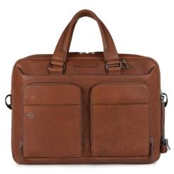 Коричневая мужчкая кожаная деловая сумка, модель для работы и путешествий от Piquadro, арт. pq-386746