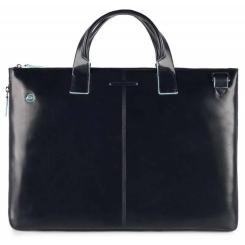Женская деловая сумка из натуральной кожи с глянцевым эффектом, для ноутбука от Piquadro, арт. CA4021B2/BLU2