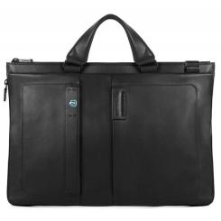 Большая черная мужская деловая сумка из натуральной кожи от Piquadro, арт. CA4021P15/N