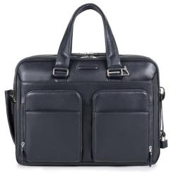 Большая мужская сумка из натуральной кожи темно синего цвета с отделом для среднего ноутбука от Piquadro, арт. pq-409528